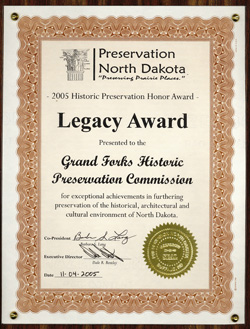 2005 Preservation North Dakota Legacy Award